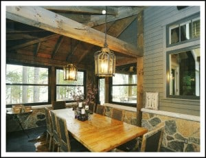 Large wood table in cozy rustic dining room
